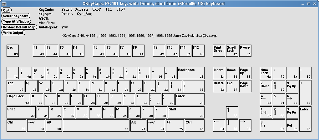 A screenshot of XKeyCaps, showing my keyboard.